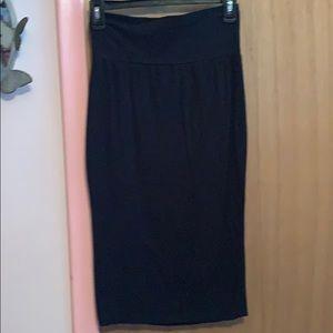 Black, knee length pencil skirt